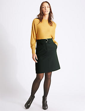 Cotton Blend Buckle Detail A-Line Mini Skirt, FOREST GREEN, catlanding