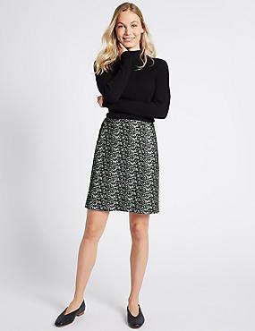 Jacquard Print A-Line Mini Skirt, BLACK MIX, catlanding