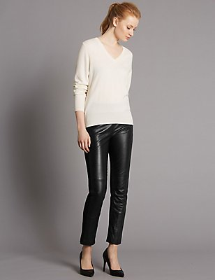 Leather Ponte Skinny Leggings, BLACK, catlanding