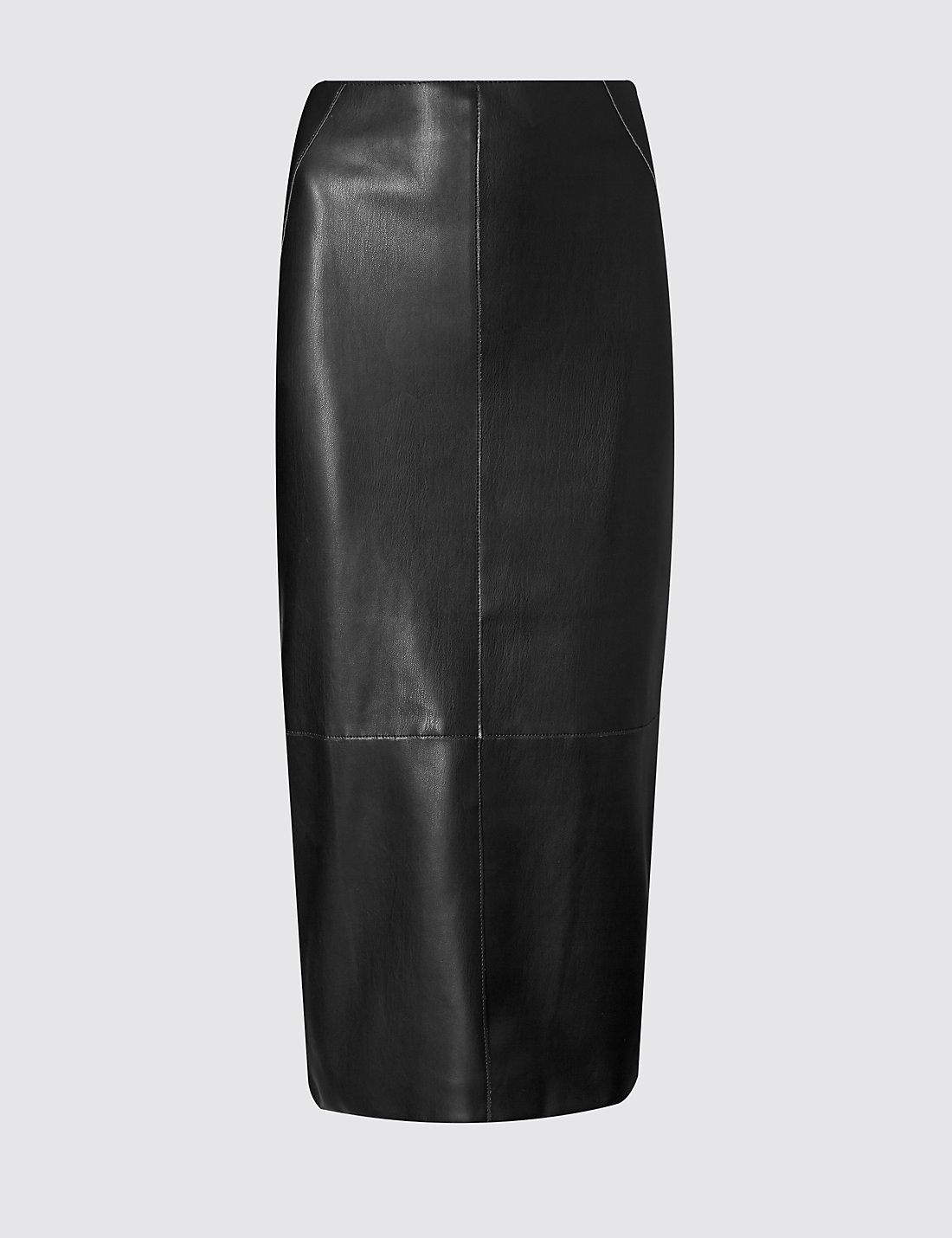 Faux Leather Panelled Pencil Skirt   M&S