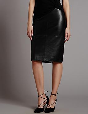 Leather Pencil Skirt, BLACK, catlanding