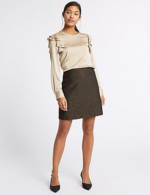 Textured A-Line Mini Skirt, GOLD MIX, catlanding