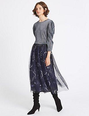 Printed A-Line Midi Skirt, , catlanding