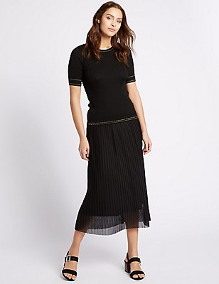 Pleated A-Line Midi Skirt, BLACK MIX, catlanding