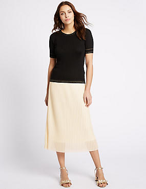 Pleated A-Line Midi Skirt, ANTIQUE CREAM, catlanding