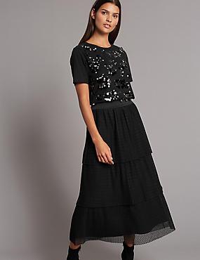 Tiered Mesh A-Line Midi Skirt, BLACK, catlanding