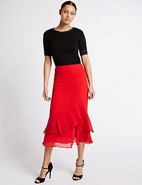 Crepe Ruffle A-Line Midi Skirt, RED, catlanding