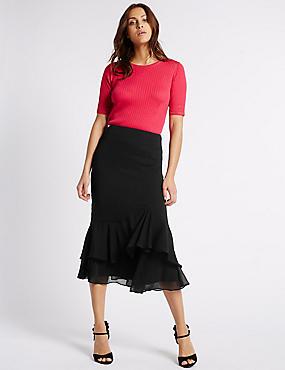 Crepe Ruffle A-Line Midi Skirt, BLACK, catlanding