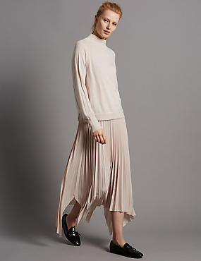 Pleated A-Line Maxi Skirt, BLUSH, catlanding