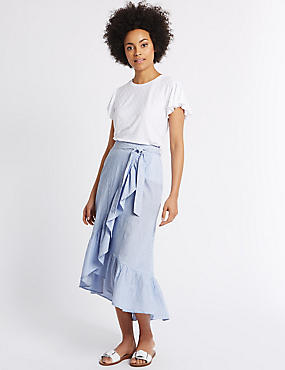 Pure Cotton Striped A Line Wrap Midi Skirt, BLUE MIX, catlanding