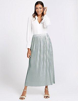 Plisse Pleated Maxi Skirt, DUCK EGG, catlanding