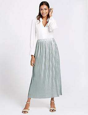 Plisse Pleated Maxi Skirt, DUCK EGG, catlanding