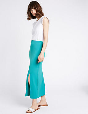 Split Front Pencil Midi Skirt, GREEN, catlanding