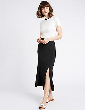 Split Front Pencil Midi Skirt, BLACK, catlanding