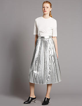 Metallic Pleated A-Line Midi Skirt, SILVER, catlanding