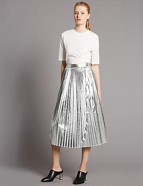 Metallic Pleated A-Line Midi Skirt, SILVER, catlanding