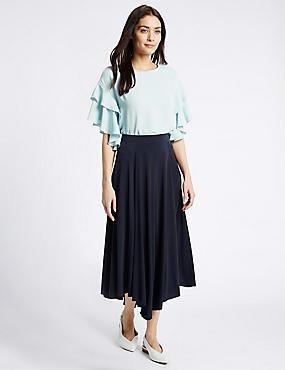 Dipped Hem A-Line Midi Skirt, NAVY, catlanding