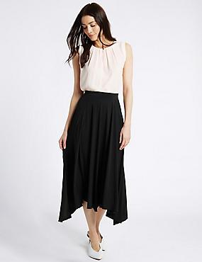 Dipped Hem A-Line Midi Skirt, BLACK, catlanding