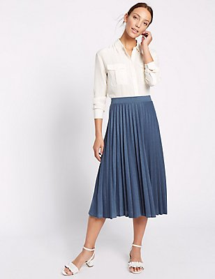 Pleated A-Line Skirt, NAVY MIX, catlanding