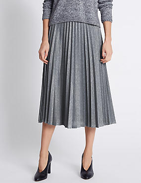 Pleated A-Line Midi Skirt, GREY MIX, catlanding