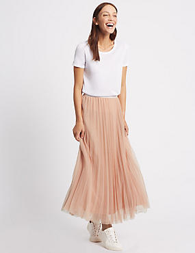 Tiered Mesh A-Line Maxi Skirt, BLUSH PINK, catlanding