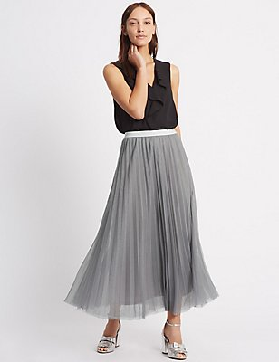 Tiered Mesh Straight Maxi Skirt, GREY, catlanding