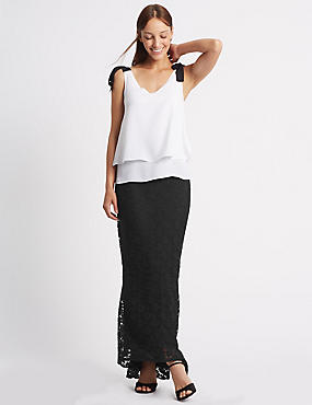 Fishtail Floral Lace Pencil Maxi Skirt, BLACK, catlanding