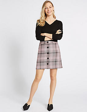 Checked A-Line Mini Skirt, LIGHT PINK, catlanding