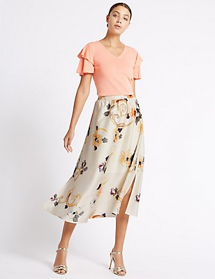 Floral Print A-Line Midi Skirt, IVORY MIX, catlanding