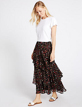 Tiered Ditsy Print A-Line Maxi Skirt, BLACK MIX, catlanding
