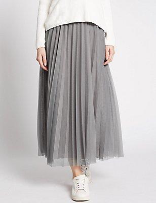 Mesh A-Line Skirt, GREY, catlanding