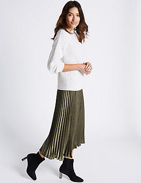 Pleated A-Line Midi Skirt, OLIVE, catlanding