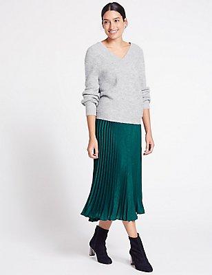 Pleated A-Line Midi Skirt, TEAL, catlanding