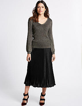 Pleated A-Line Midi Skirt, BLACK, catlanding