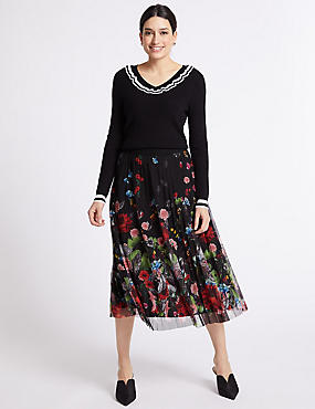 Floral Print Pleated Skirt, BLACK MIX, catlanding