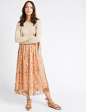 Embroidered A-Line Midi Skirt , LIGHT PINK MIX, catlanding