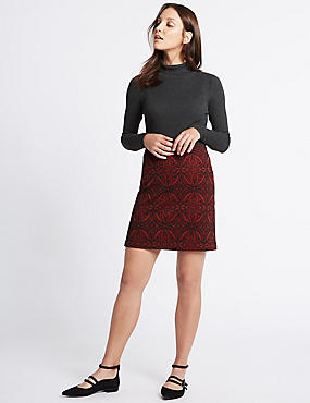 Paisley Print A-Line Skirt, RED MIX, catlanding