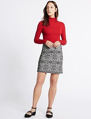 Paisley Print A-Line Skirt, BLACK MIX, catlanding