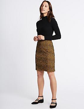 Printed A-Line Mini Skirt, OCHRE, catlanding