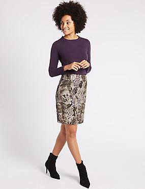 Jacquard Floral Print A-Line Mini Skirt, BLACK MIX, catlanding