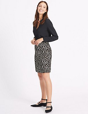 Cotton Blend Animal Print A-Line Mini Skirt, BLACK MIX, catlanding