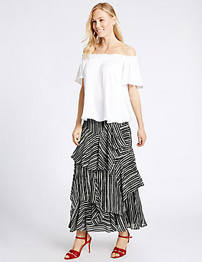 Tiered Striped A-Line Maxi Skirt, IVORY MIX, catlanding