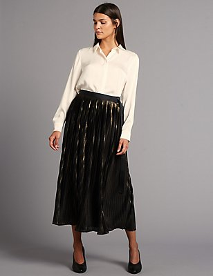 Metallic Texture Pleated A-Line Midi Skirt, GOLD MIX, catlanding