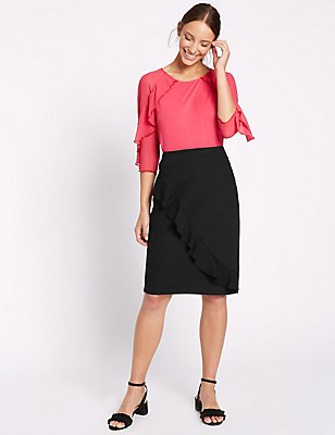 Ruffle Pencil Midi Skirt, BLACK, catlanding