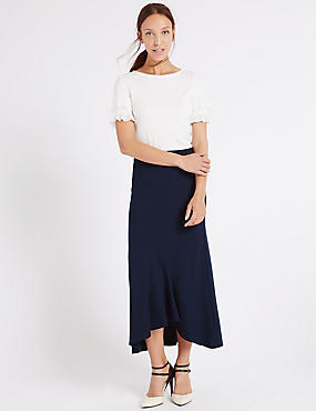 Long Ruffle A-Line Skirt, NAVY, catlanding