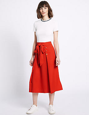 Tie Waist Button Detail A-Line Midi Skirt, RED, catlanding
