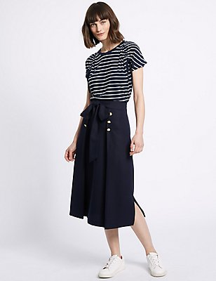Button Detail A-Line Midi Skirt, NAVY, catlanding
