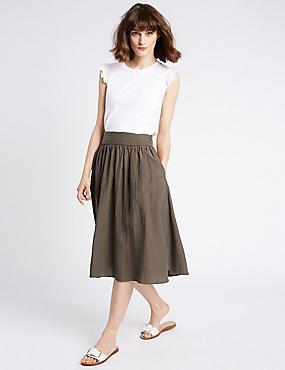 A-Line Midi Skirt, KHAKI, catlanding