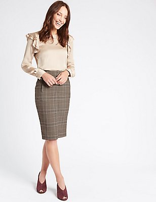 Checked Pencil Midi Skirt, GREY MIX, catlanding