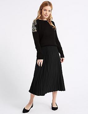 PETITE Variegated Pleat A-Line Midi Skirt, BLACK, catlanding